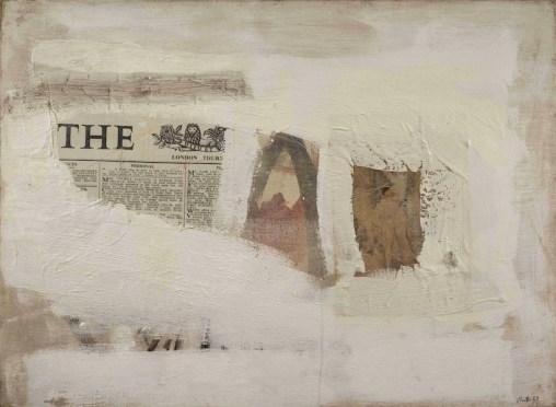 Gastone Novelli, Per ricordare la vita, 1959, collage su colore, 125x170 cm, Collezioni Intesa Sanpaolo © Archivio Attività Culturali, Intesa Sanpaolo Foto Paolo Vandrasch