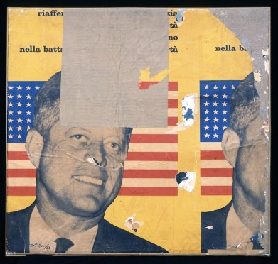 Mimmo Rotella, Viva America, 1963, decollage su tela, 85x89 cm, Collezione Privata © Courtesy Fondazione Marconi, Milano