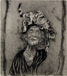Giancarlo Vitali, La dama dei gatti 2°, 1986, acquaforte, acquatinta, 14.7x13 cm