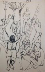 Renato Guttuso, Studio per Crocifissione, 1940, china su carta, 33.5x22 cm