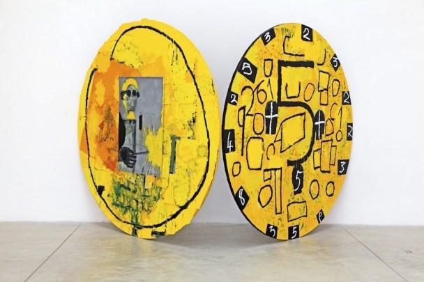 Mimmo Paladino, Il saldatore, 2014, tecnica mista su tela, due elementi, dimensioni totali 170x325x230 cm, Collezione dell'artista Foto Peppe Avallone