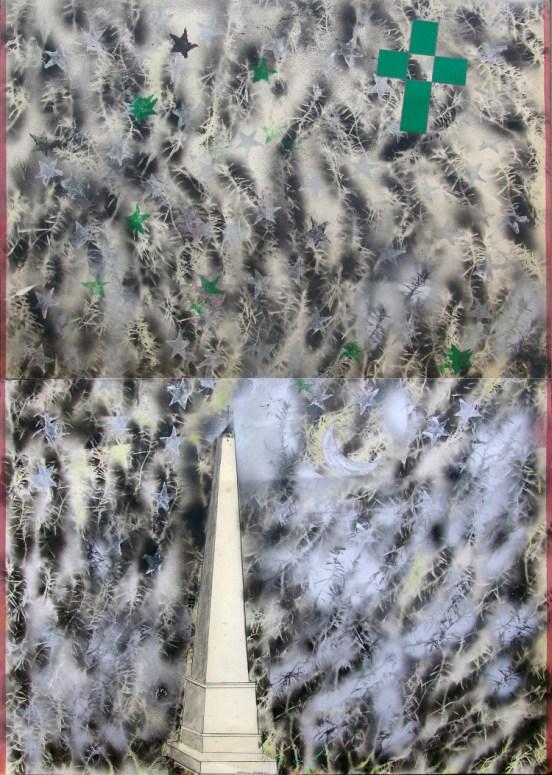Franco Angeli, Obelisco, tecnica mista e spray argento su cartoncino, 140x100 cm