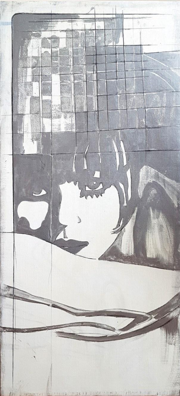 Giosetta Fioroni, Liberty nella geometria, 1969, smalti e alluminio su tela, 110x50 cm
