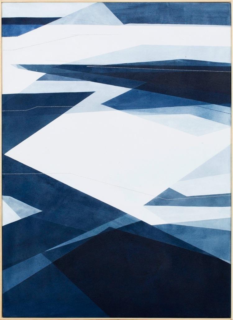 Adua Martina Rosarno, Senza titolo, 2017, acrilico acquerellato e tessiture su tela, 65x90 cm
