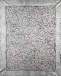 Arturo Vermi, Caos, 1973, pennarelli su foglia argento su tela, 100x80 cm Courtesy Fondazione Berardelli, Brescia