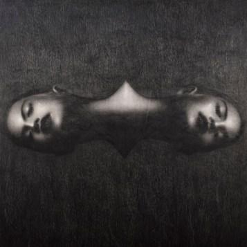 Omar Galliani, Grande Disegno Siamese, 2004, grafite nera su tavola, 150x150 cm