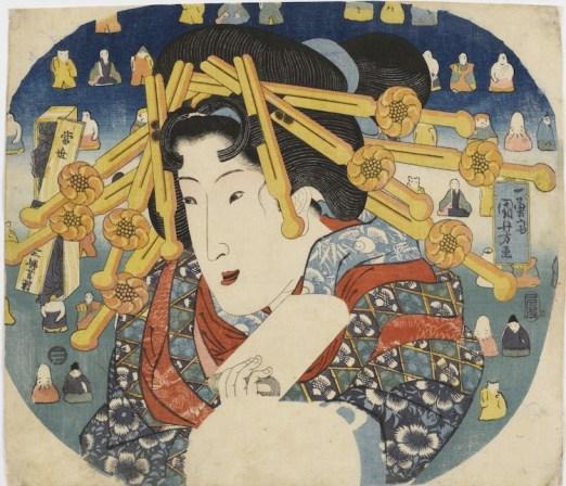 Utagawa Kuniyoshi, Cortigiana, Serie: Le tre dure prove delle donne moderne (Tōsei sanpukutsui), 1833, silografia policroma (nishikie), 22x29 cm, Masao Takashima Collection