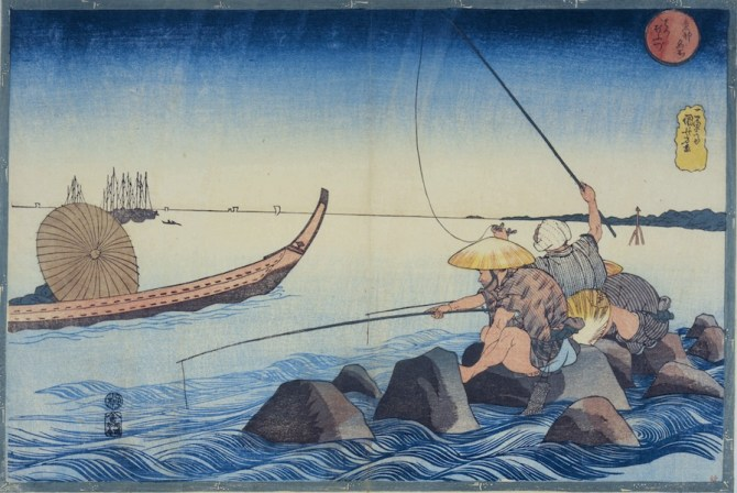 Utagawa Kuniyoshi, Teppozū, Serie: Luoghi famosi di Edo (Tōto meisho), circa 1832-1833, silografia policroma (nishikie), 26.5x39 cm, Masao Takashima Collection