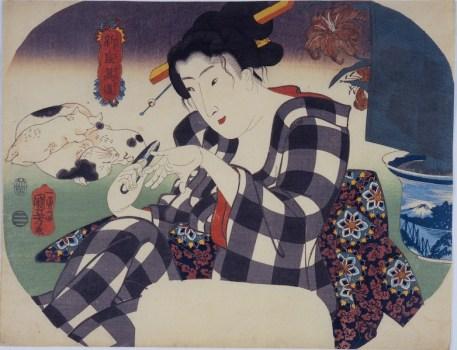 Utagawa Kuniyoshi, Tagliarsi le unghie, Serie: L'universo femminile (Shinramanzō), circa 1843-44, silografia policroma(nishikie), 22.4x29.2 cm, Masao Takashima Collection