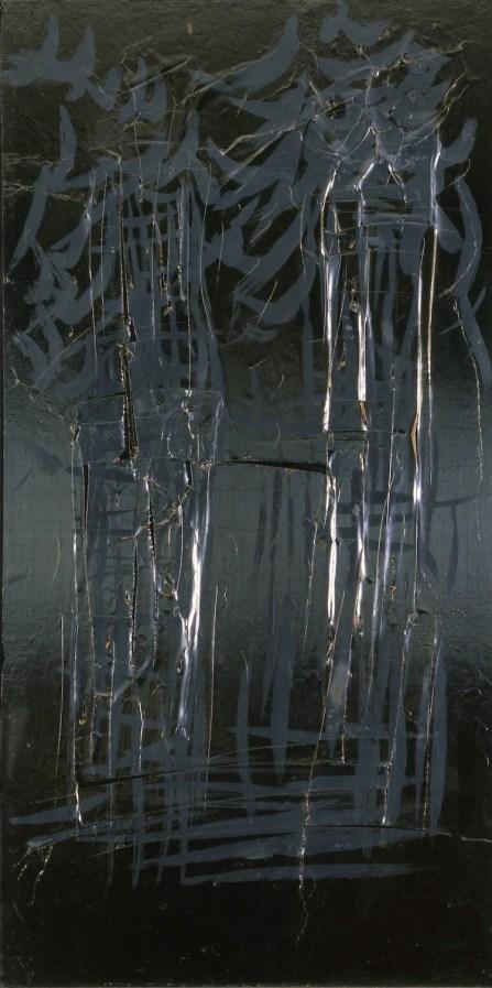 Lucio Fontana, Concetto spaziale New York, 1961, collage e tempera su tavola, Collezione privata
