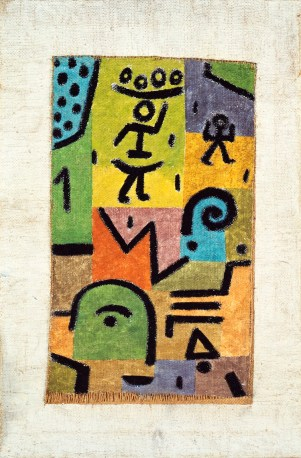 Paul Klee, Zitronen-Ernte (raccolta dei limoni) 1937, waterlcolour on chalk gorund on canavas-acqurello su preparazione a gesso su tela, 70x46 cm Martigny (Suisse), Fondation Pierre Gianadda