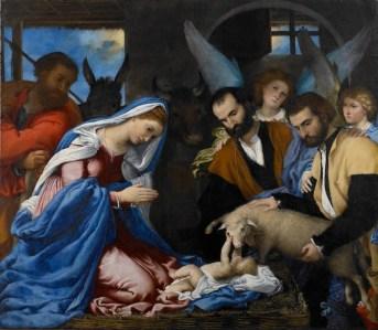 Lorenzo Lotto, Adorazione dei pastori, 1530, olio su tela, cm 146x166, Brescia, Pinacoteca Tosio Martinengo © Fondazione Brescia Musei