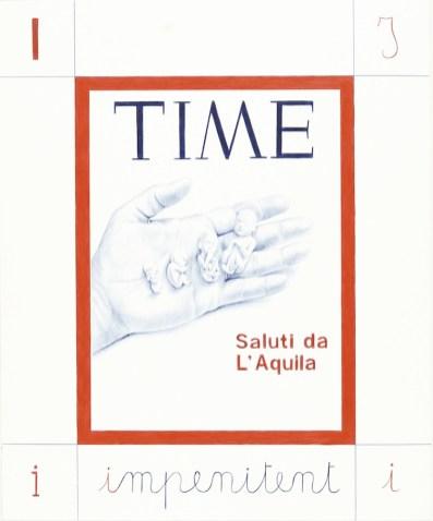 Giuseppe Stampone, Saluti da L'Aquila, penna Bic su carta, 15 moduli, 40x34 cm ciascuno, Collezione La Gaia Busca, Cuneo Foto di repertorio