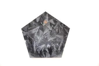 Lapo Simeoni, #What darkness to you is light to me, 2018 stampa su specchio, moneta, 26,7X28 cm