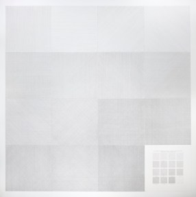 Sol LeWitt, Between the Lines, veduta della mostra (Wall Drawing #263: A wall divided into 16 equal parts with all one-, two-, three-, four- part combinations of lines in four directions, 1975), Fondazione Carriero, Milano Foto Agostino Osio Courtesy Courtesy Whitney Museum of American Art, New York e Fondazione Carriero