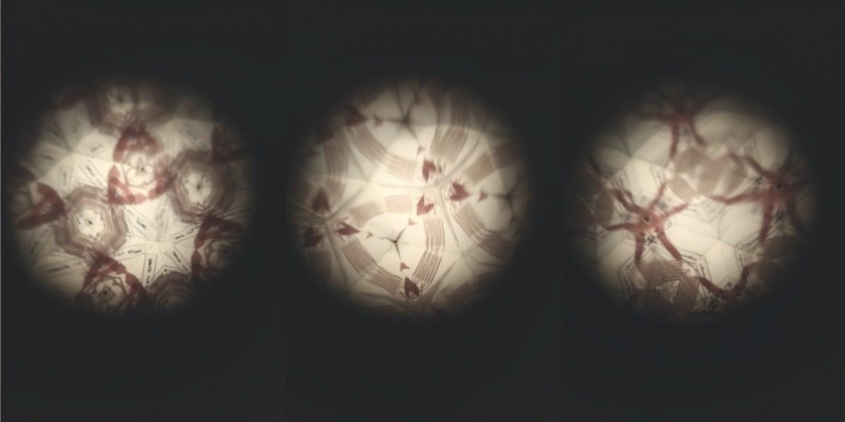 Elena Modorati, Prossimità e distanza, 2018, ferro, vetro, plexiglass, tessuto, due elementi da 150x70x50 9dettaglio delle variazioni del caleidoscopio interno) Foto Bruno Bani, Milano