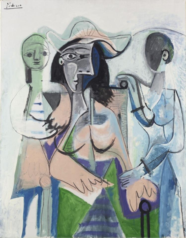 Pablo Picasso, Donna e bambine, 1961, olio su tela, 146x113.7 cm, Philadelphia Museum of Art, Donazione di Mrs. John Wintersteen, 1964