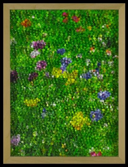 Gianluca Quaglia, mosaico(giallo, viola e blu), 2016, stampa digitale, vetro stampato a nido d'ape, misura 40x30cm