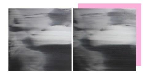 Ettore Pinelli, Background noise (little splitting image) 2018 olio su tela, mensola in legno, wall painting, 50x50cm ciascuno, dim. totali 50x100cm