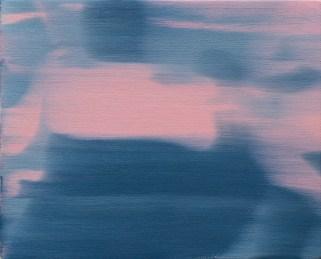 Ettore Pinneli, Blurring motion_zoom in (rose light) 2016 olio su tela, mensola in legno, 24x30 cm