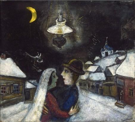 Marc Chagall, Nella notte, 1943, olio su tela, 47x52.4 cm, Philadelphia Museum of Art, Collezione Louis E. Stern, 1963