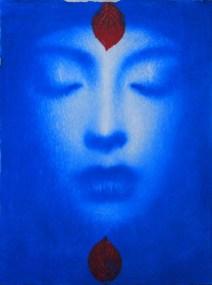 Omar Galliani, Blu Oltremare, 2018, pastello blu su carta, cm 38x28