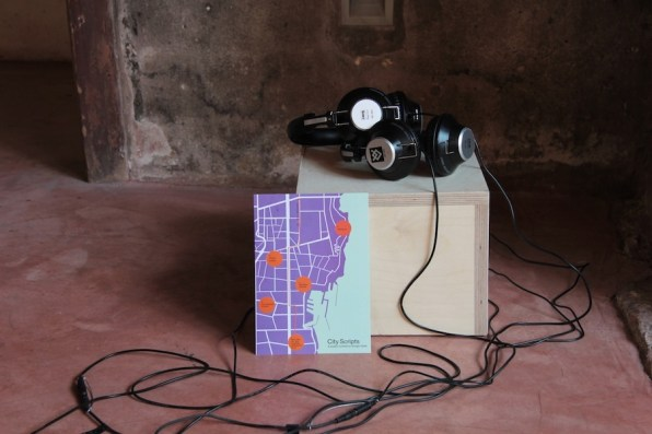 """Giorgio Vasta, City Scripts, 2018, storytelling, creative writing workshops and collaborative podcasts available on the Manifesta 12 app. and at Teatro Garibaldi, project """"City on Stage"""", Teatro Garibaldi, Palermo Photo: Wolfgang Träger Photo Courtesy: Manifesta 12 Palermo and the artist"""