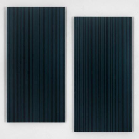Vincenzo Merola, 90 Coin Flips and 30 Fixed Stripes, 2018, acrilico su tela, 130x130 cm, 2 elementi da 120x60 cm ciascuno