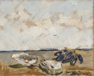 Filippo de Pisis, Natura morta con ostriche e grappolo d'uva, 1932, olio su tela, Collezione privata