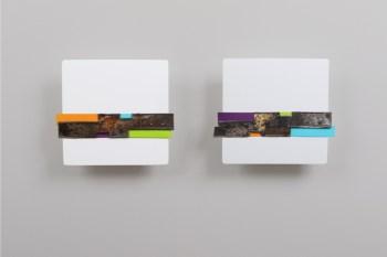 Andrea Cereda, No Signal - Sequenze #28, 2018, dittico, lamiera di ferro su MDF dipinto, singolo elemento 20x20 cm Courtesy l'artista e Castel Negrino Arte, Aicurzio (MB)