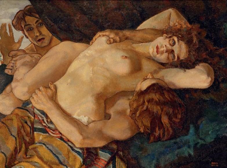 Anselmo Bucci, Gli amanti sorpresi, 1920-21, olio su tela, 82x110 cm, Palazzo Cangi Neri, Quadreria Cesarini, Fossombrone (PU)