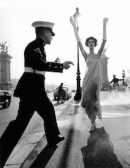 William Klein, Simone + Marines, Pont Alexandre III, Paris, 1960, Silver Gelatin Print,150x118 cm, courtesy Grob Gallery