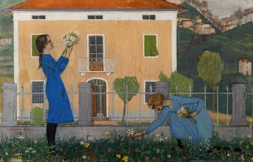 Adolfo Balduini, Bambine che raccolgono fiori, 1919, tempera su cartoncino preparato a gesso, cm 21x33, Collezione privata, Barga
