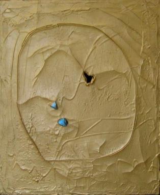 Fontana, CONCETTO SPAZIALE 1961 OLIO, BUCO E GRAFFITI SU TELA, 65x53,5 ARCH. 61 O 8