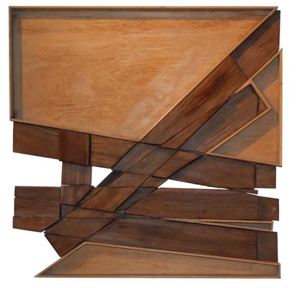 Ben Ormenese, ZB2, 1971, legni combusti, 71x71 cm, Collezione privata