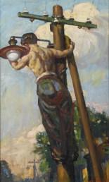 Vlastimil Košvanec, Sia la luce, anni '50, olio su tavola, 66.5x41 cm, Collezione Fondazione Eleutheria