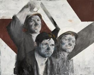 Martin Sladký, Tre minatori, fine anni '60, olio su tela, 82x100 cm, Collezione Fondazione Eleutheria
