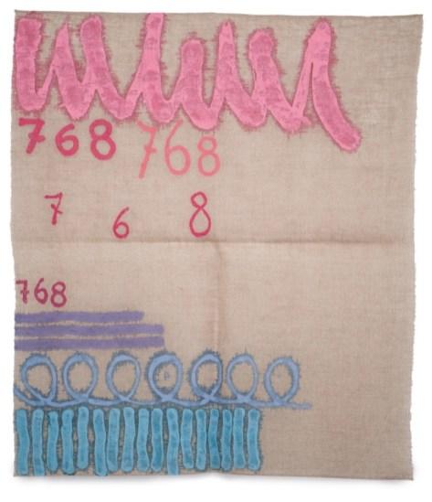 Giorgio Griffa, Tre linee con arabesco n.768, 1993, 99x86 cm, acrilico su iuta