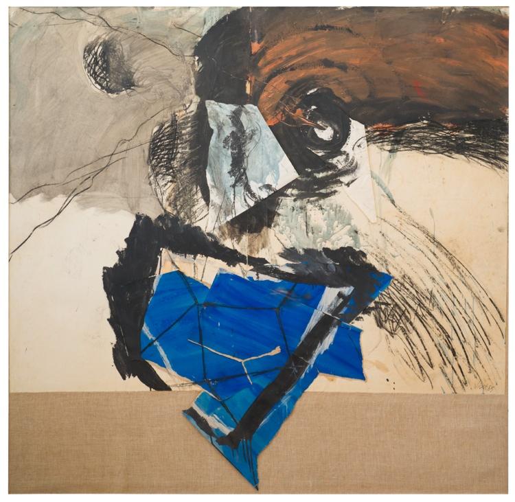 Nanni Valentini, Senza titolo, 1985, 192x200 cm, collage e tecnica mista su carta