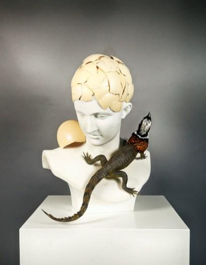 Koen Vanmechelen, Temptation, 2018, scultura in marmo, tassidermia, guscio d'uovo di struzzo, 54x41x41 cm © Studio Koen Vanmechelen
