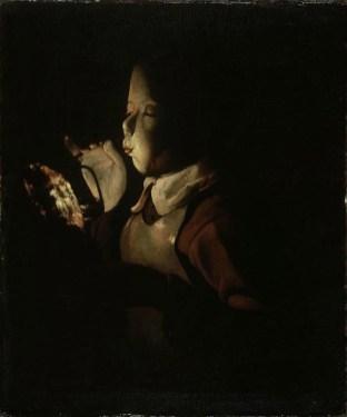 Georges de La Tour, Giovane che soffia su un tizzone, 1640 circa, olio su tela, 61×51 cm, Musée des Beaux-Arts Digione, Francia, Donazione Granville, 1976