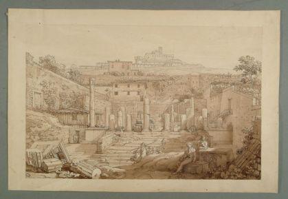 Luigi Basiletti, Il Tempio Capitolino visto da sud a scavi ultimati, disegno a penna e seppia 1826. Brescia, Musei Civici di Arte e Storia