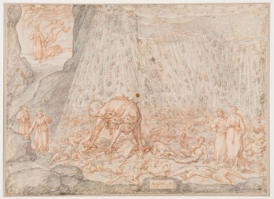Federico Zuccari, Dante Historiato, Terzo cerchio. I golosi. Cerbero, Inferno, Canti V-VI, 1586-88, Gabinetto dei Disegni e delle Stampe, Uffizi, Firenze GDSU inv.3481 F