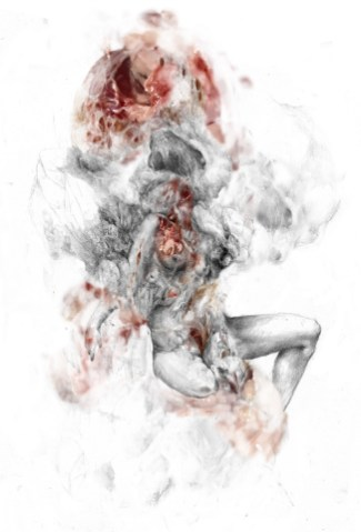 Fabio Lombardi, Ivy, 2020, disegno a grafite rielaborato digitalmente, fotografia e pittura digitale, stampato su seta, 140x100 cm