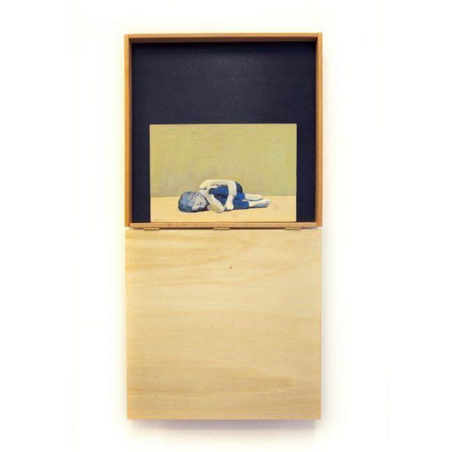 Diego Randazzo, Serie DISTANCE, pittura acrilica su foglio da spolvero, legno, cerniere, 38x76x7 cm