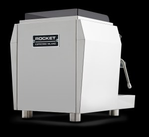 High resolution back view of the Rocket Espresso Giotto Plus Pid on black background