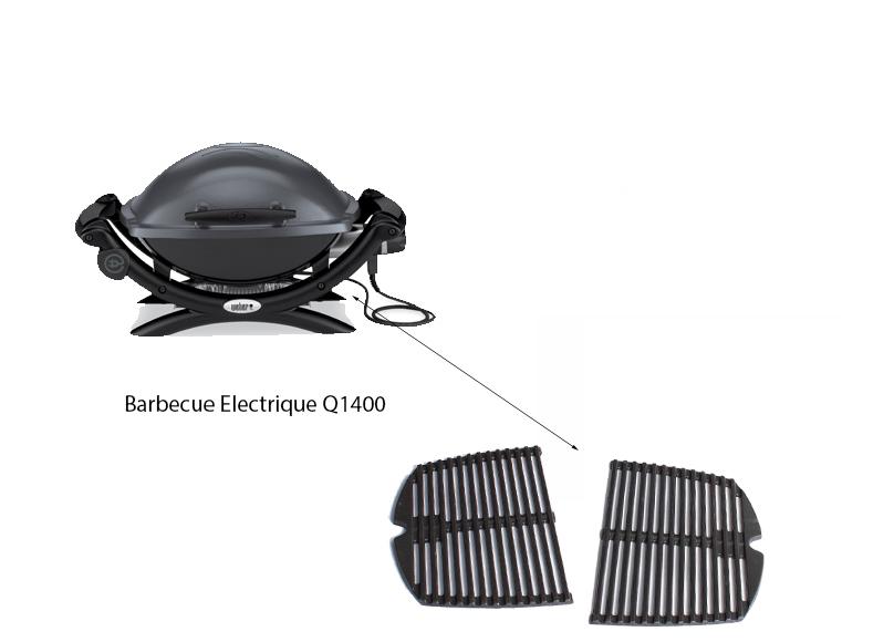 Lot De 2 Grilles En Fonte Emaillee Pour Barbecue Q1400 Et Q140 Weber