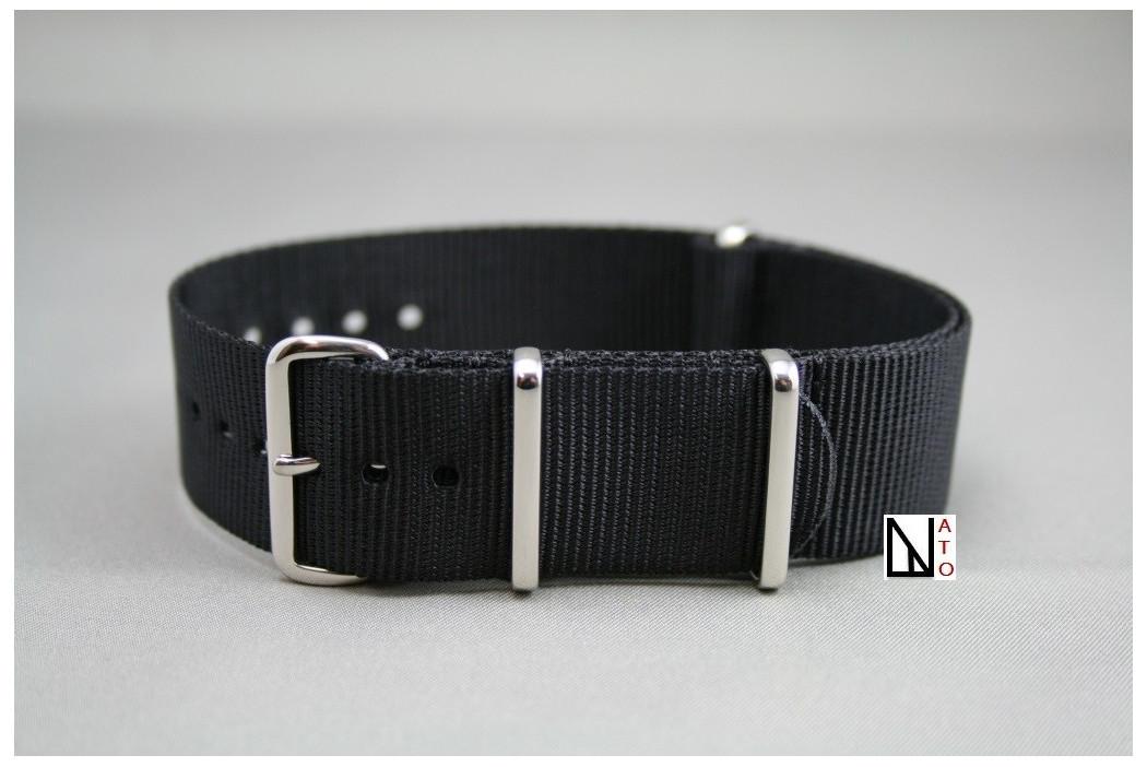 bracelet montre nato uni noir en nylon grande longueur xl