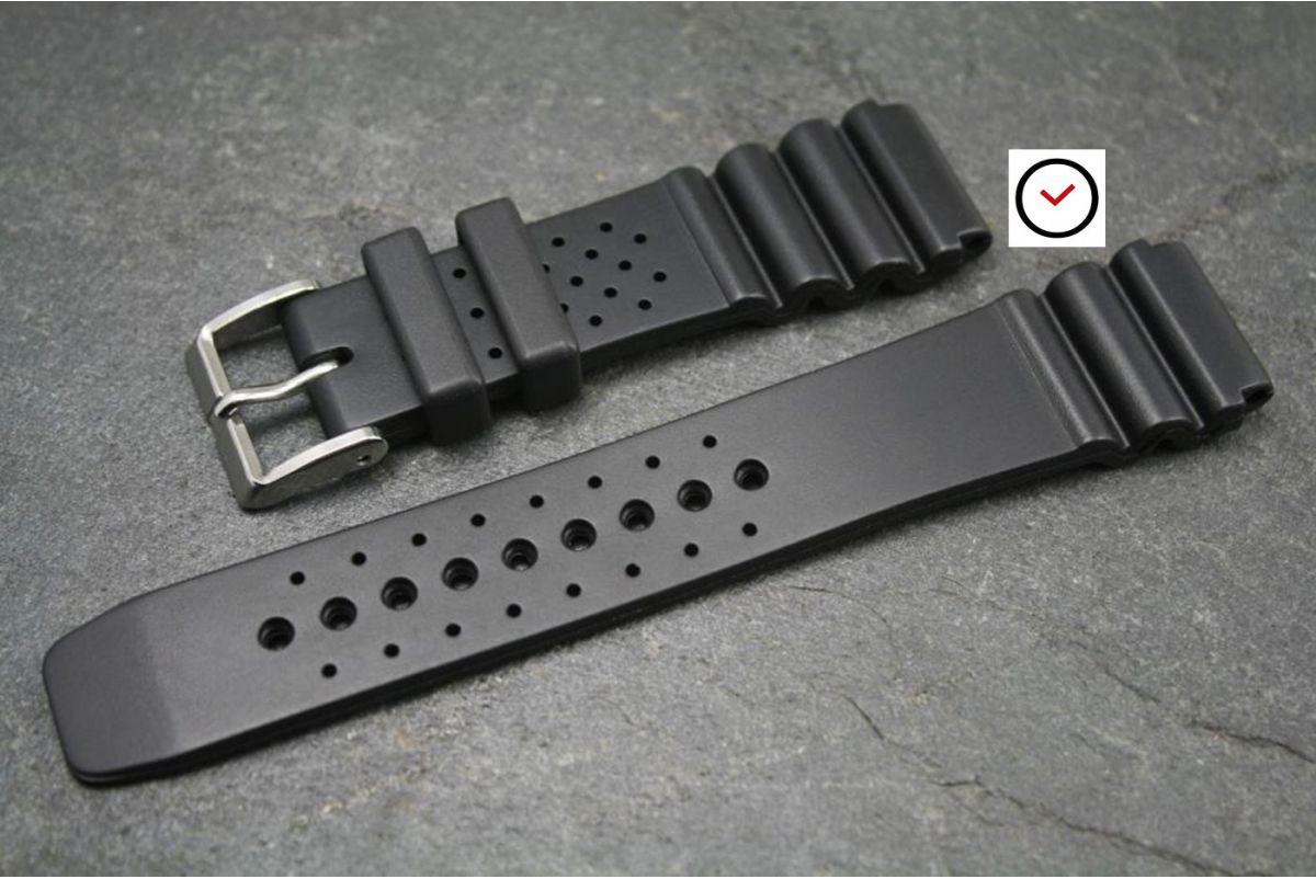 bracelet montre caoutchouc italien sport noir ideal seiko plongee