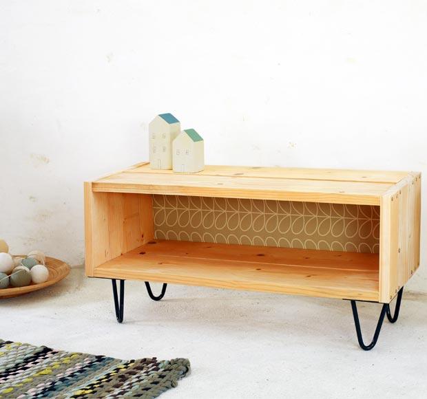 meuble tv diy en bois massif esprit